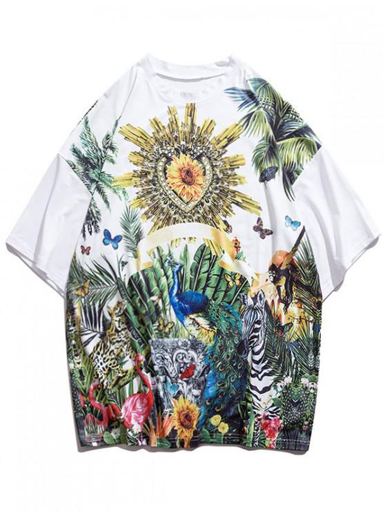 Zoo Animals Print Drop Shoulder Lounge T Shirt - أبيض M