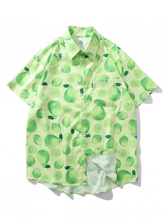 trendy Lemon And Pear Print Chest Pocket Vacation Shirt - GREEN APPLE XL