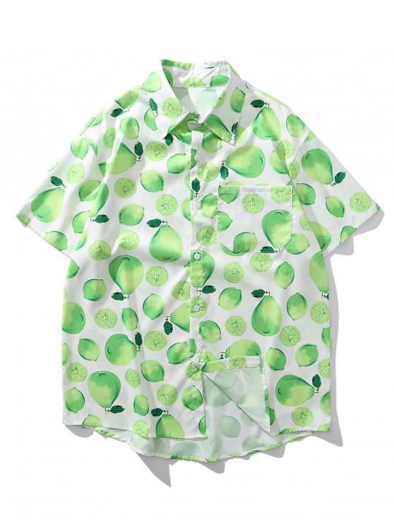 Camisa de Vacación con Estampado de Limón con Bolsillo en El Pecho - Verde Menta XL