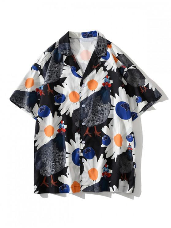 unique Daisy Chook Graphic Pattern Shirt - BLACK 2XL