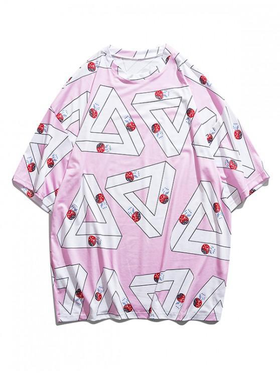women's Geometric Dice Print Drop Shoulder T-shirt - PIG PINK XL