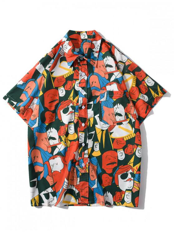fashion Cartoon Figure Graphic Print Pocket Patch Shirt - BRIGHT ORANGE L