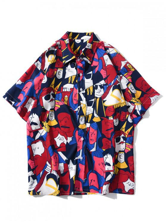 buy Cartoon Figure Graphic Print Pocket Patch Shirt - RUBY RED 2XL
