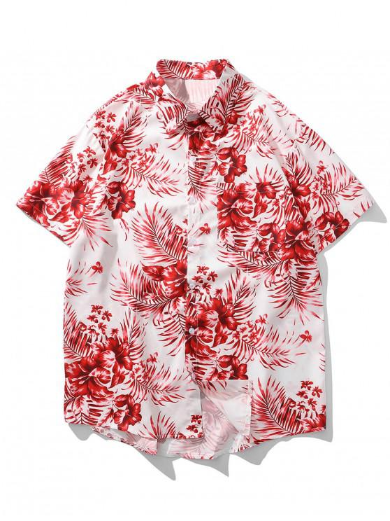 women's Tropical Floral Leaf Print Pocket Vacation Shirt - RUBY RED XL