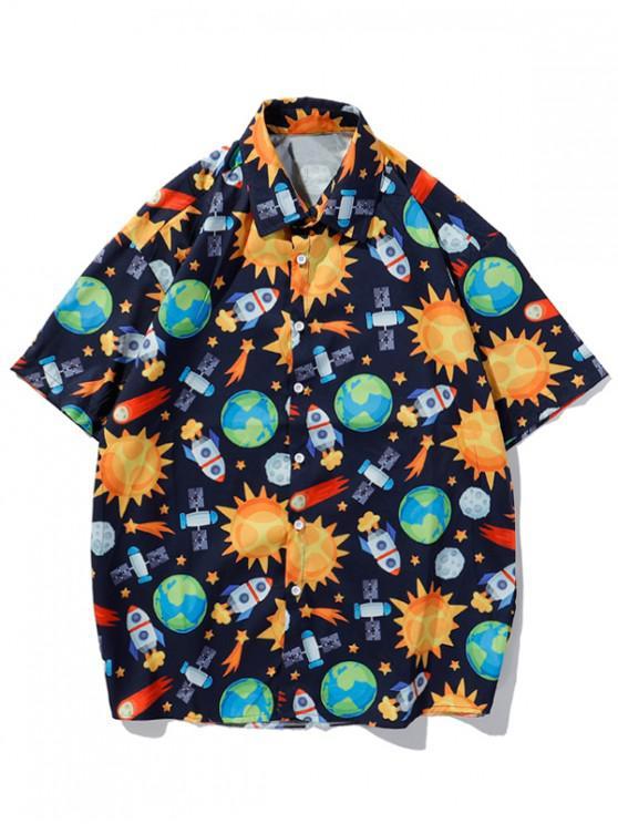 shops Cartoon Universe Planet Graphic Shirt - BRIGHT YELLOW L