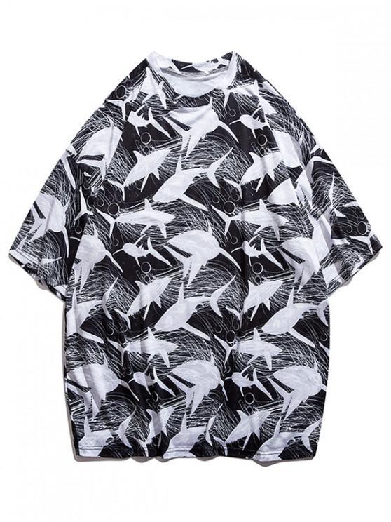online Whale Sketch Print Drop Shoulder T-shirt - BLACK M