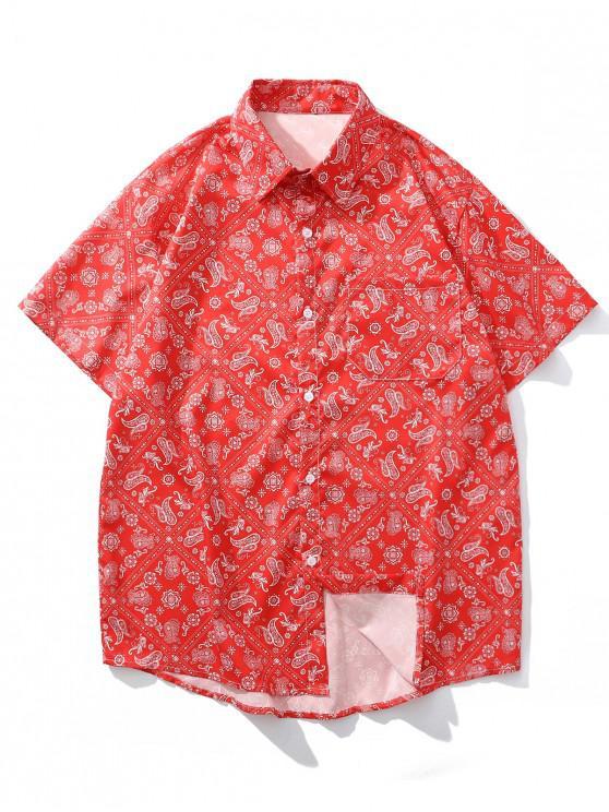 outfit Paisley Bandana Print Pocket Vacation Shirt - RED L