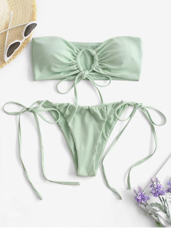 women's ZAFUL Keyhole Bandeau Tie Side Ribbed Bikini Swimwear - LIGHT GREEN L
