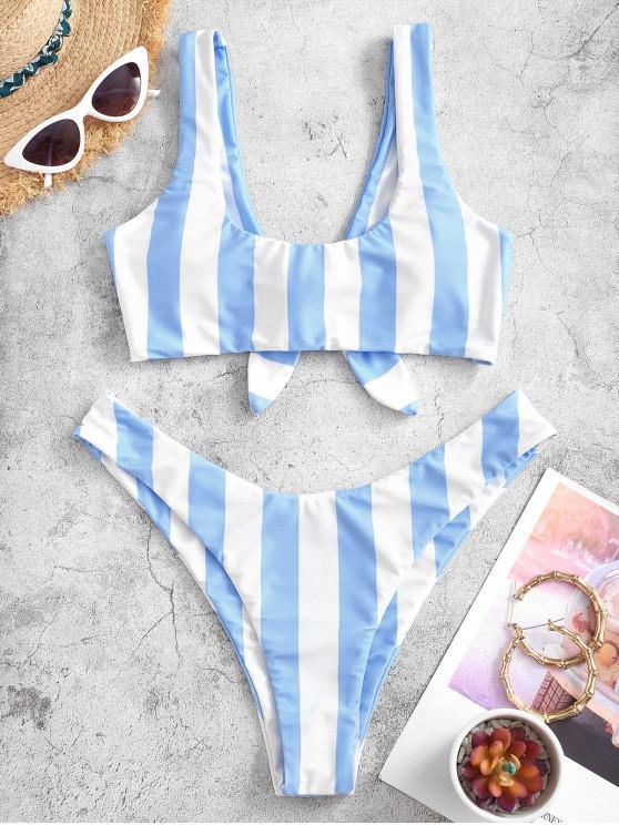 hot ZAFUL Knot Striped Bikini Set - LIGHT SKY BLUE M