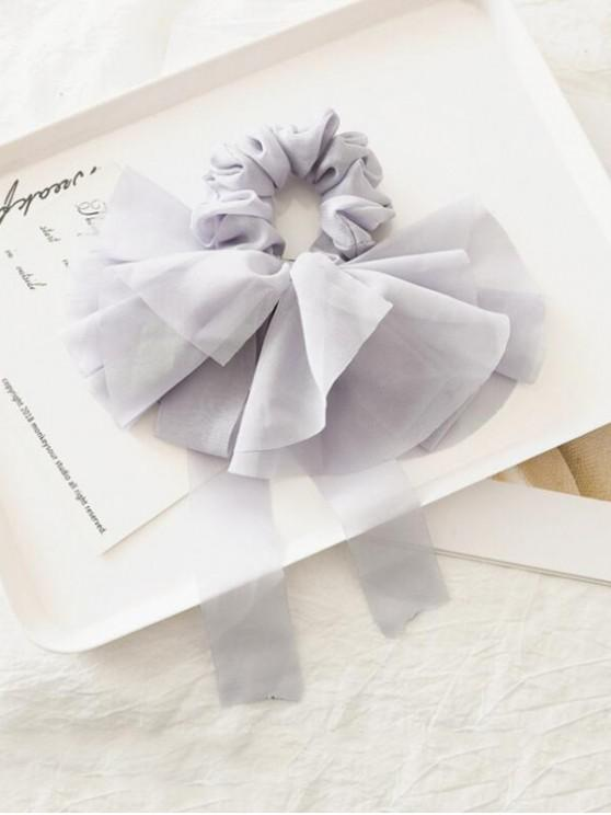 shops Solid Color Layered Bowknot Elastic Scrunchie - GRAY