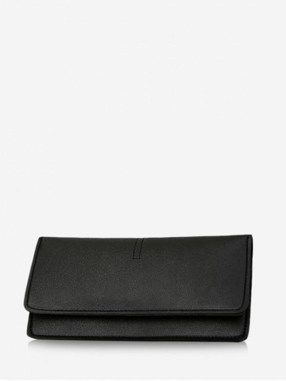 sale Snap Button Plain Leather Long Clutch Wallet - BLACK