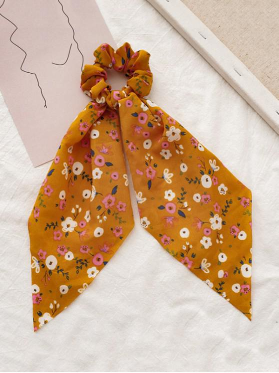 chic Tiny Floral Printed Big Bowknot Fabric Scrunchy - YELLOW