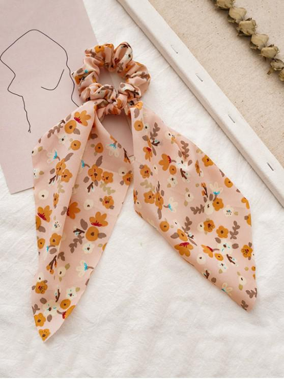 unique Tiny Floral Printed Big Bowknot Fabric Scrunchy - ROSE