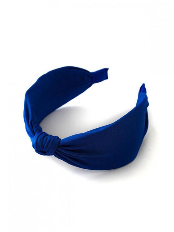 womens Knot Neon Color Wide Hairband - BLUE
