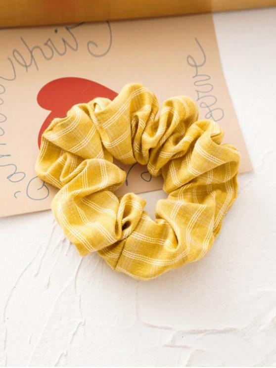 shops Plaid Print Retro Fabric Scrunchy - YELLOW