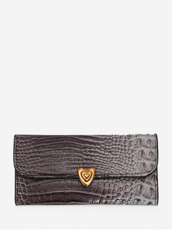 buy Heart Textured Tri-fold Clutch Wallet - GRAY
