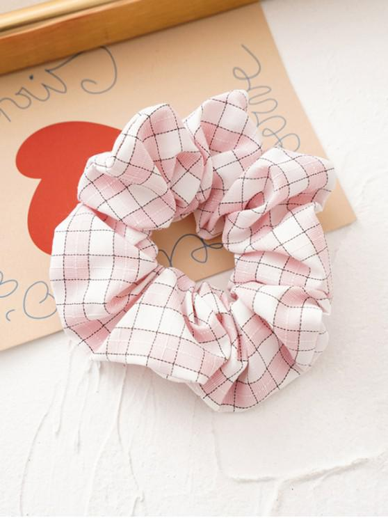 trendy Tartan Pattern Fabric Scrunchy - PIG PINK