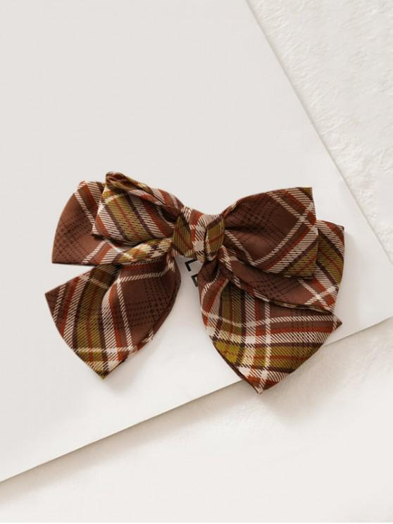 lady Plaid Printed Bowknot Hair Clip - DEEP COFFEE