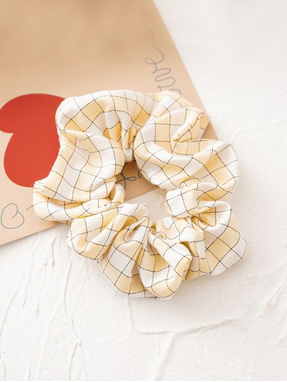 fancy Tartan Pattern Fabric Scrunchy - YELLOW
