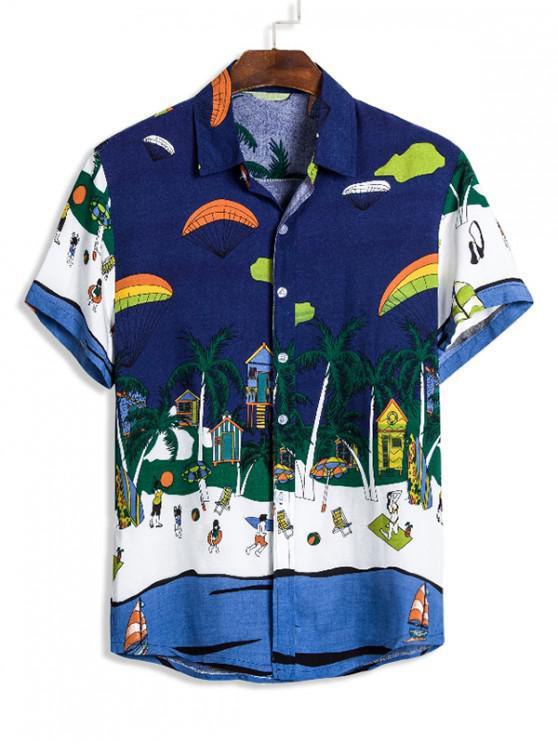 Cartoon Beach Landscape Print Turn Down Collar Shirt - ازرق غامق 3XL