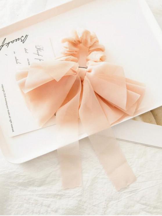 shop Solid Color Layered Bowknot Elastic Scrunchie - SAKURA PINK