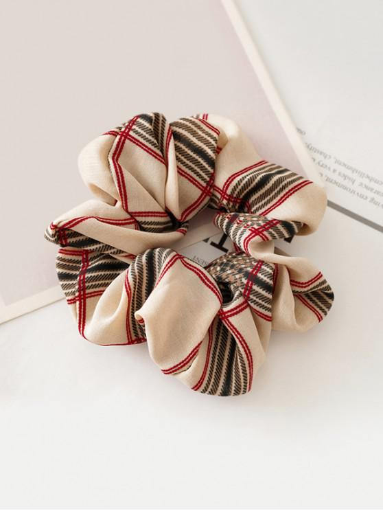 online Glen Check Printed Fabric Scrunchy - BEIGE