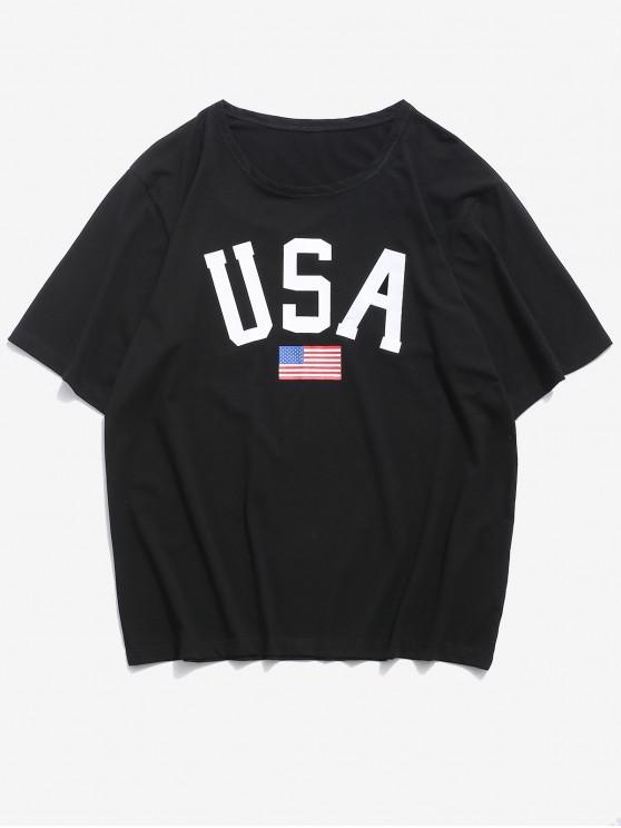 women USA American Flag Print Basic T Shirt - BLACK M