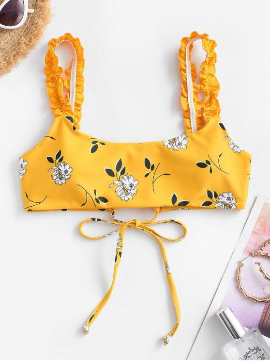 ladies ZAFUL Frilled Plant Print Bikini Top - BRIGHT YELLOW S