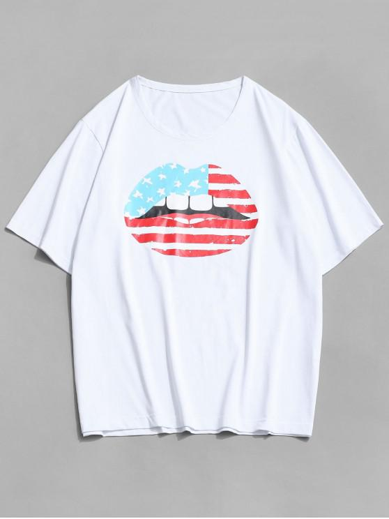 ZAFUL American Flag Lip Print Basic T-shirt - أبيض XL