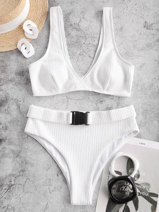 ZAFUL Textured Buckled Surplice Bikini Swimwear - أبيض L