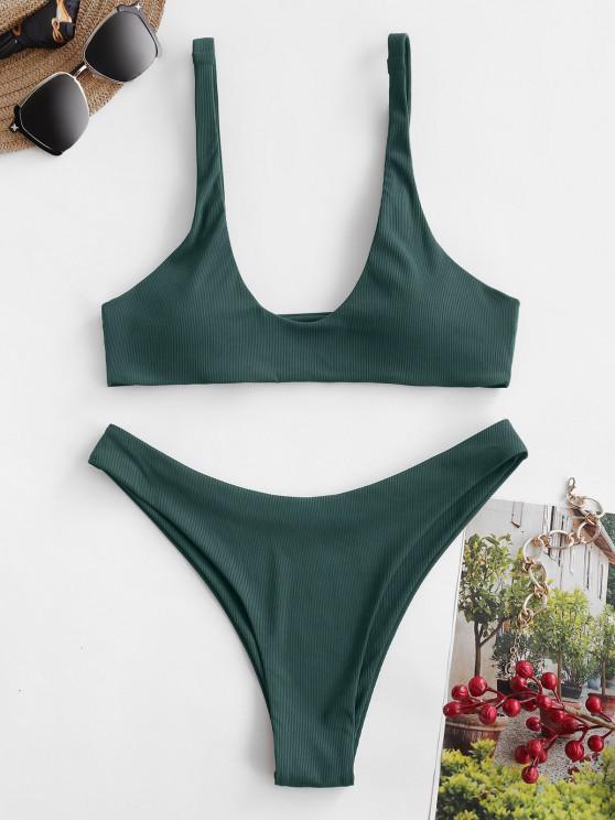 fashion ZAFUL Forest Deep Silence Ribbed Bikini Swimwear - PEACOCK BLUE S