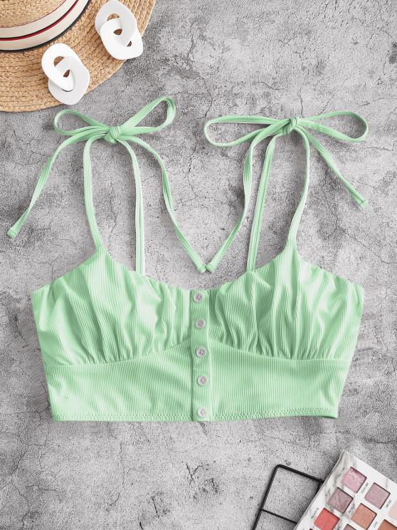 hot ZAFUL Tie Ribbed Cropped Bikini Top - LIGHT GREEN S