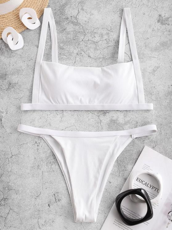 ZAFUL Square Ribbed String Bikini Swimwear - أبيض M
