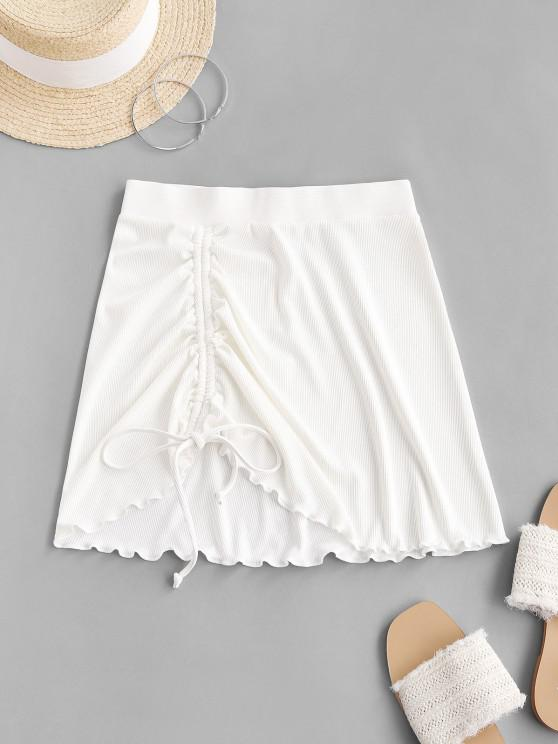 ZAFUL Cinched Lettuce-trim Ribbed Skirt - أبيض S