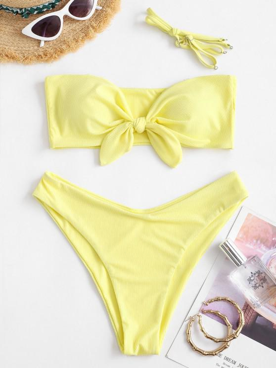 ladies ZAFUL Ribbed Tied High Leg Bikini Swimwear - CORN YELLOW M