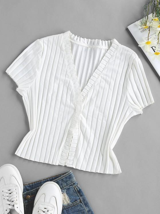 online ZAFUL Ruffle Ribbed Knit T Shirt - WHITE M