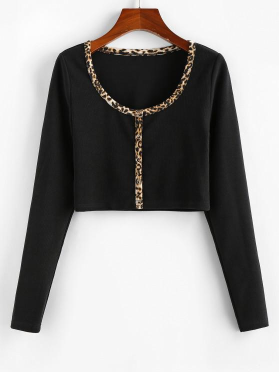 hot ZAFUL Leopard Trim Crop Tee - BLACK M