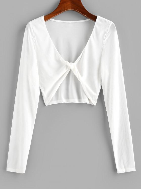 women's ZAFUL Mesh See Thru Twisted Crop T-shirt - WHITE S