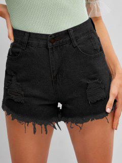 Frayed Hem Ripped Denim Cutoff Shorts - Black M