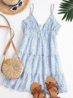 Cami Leopard Empire Waist Mini Dress - Blue Gray M