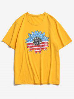 ZAFUL Amerikanischer Flaage T-Shirt Mit Sonnenblumenmuster - Helles Gelb L