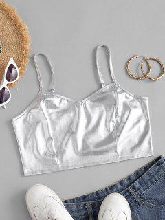 Cropped Shiny Glitter Cami Top - Silver S