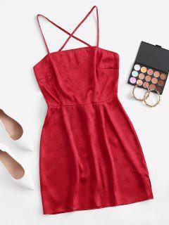 Satin Jacquard Cross Back Slip Backless Dress - Red M