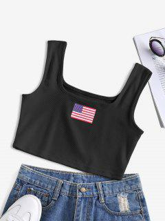 ZAFUL Patriotic American Flag Ribbed Crop Tank Top - Black M