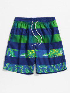 Leaf Print Color Spliced Casual Shorts - Blue 2xl