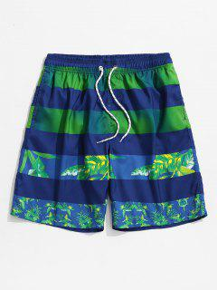 Leaf Print Color Spliced Casual Shorts - Blue 3xl
