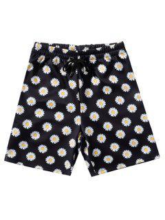 Daisy Print Vacation Shorts - Black M