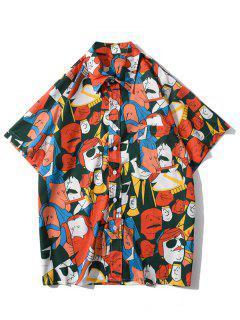 Cartoon Figure Graphic Print Pocket Patch Shirt - Bright Orange L