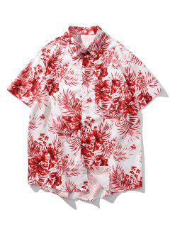 Tropical Floral Leaf Print Pocket Vacation Shirt - Ruby Red Xl