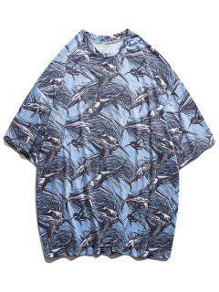 T-shirt Baleine Imprimée à Goutte Epaule - Bleu Clair M